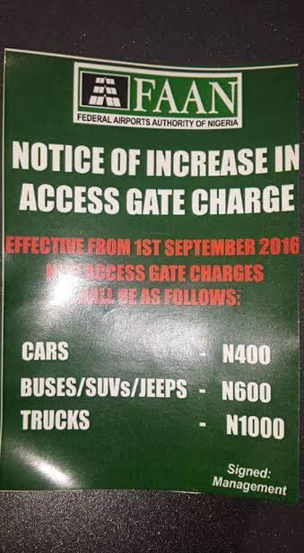 Federal Airport Authority increased Gate Charge
