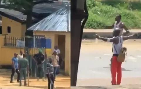 Port Harcourt police shoots at boys in close range and it is not penetrating their bodies because of the charms they took
