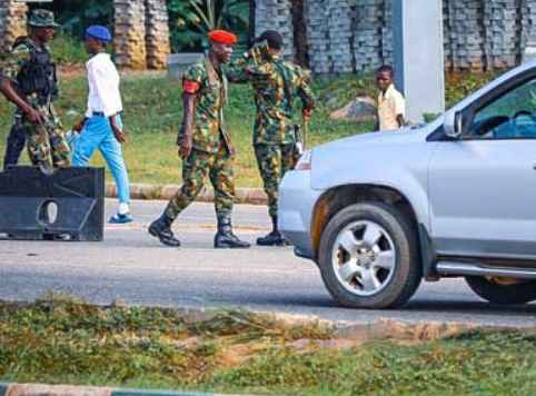 Nigerian soldiers have been deployed and are currenly blocking the scene of planned #EndSARS protest in the federal capital territory (FCT), Abuja.