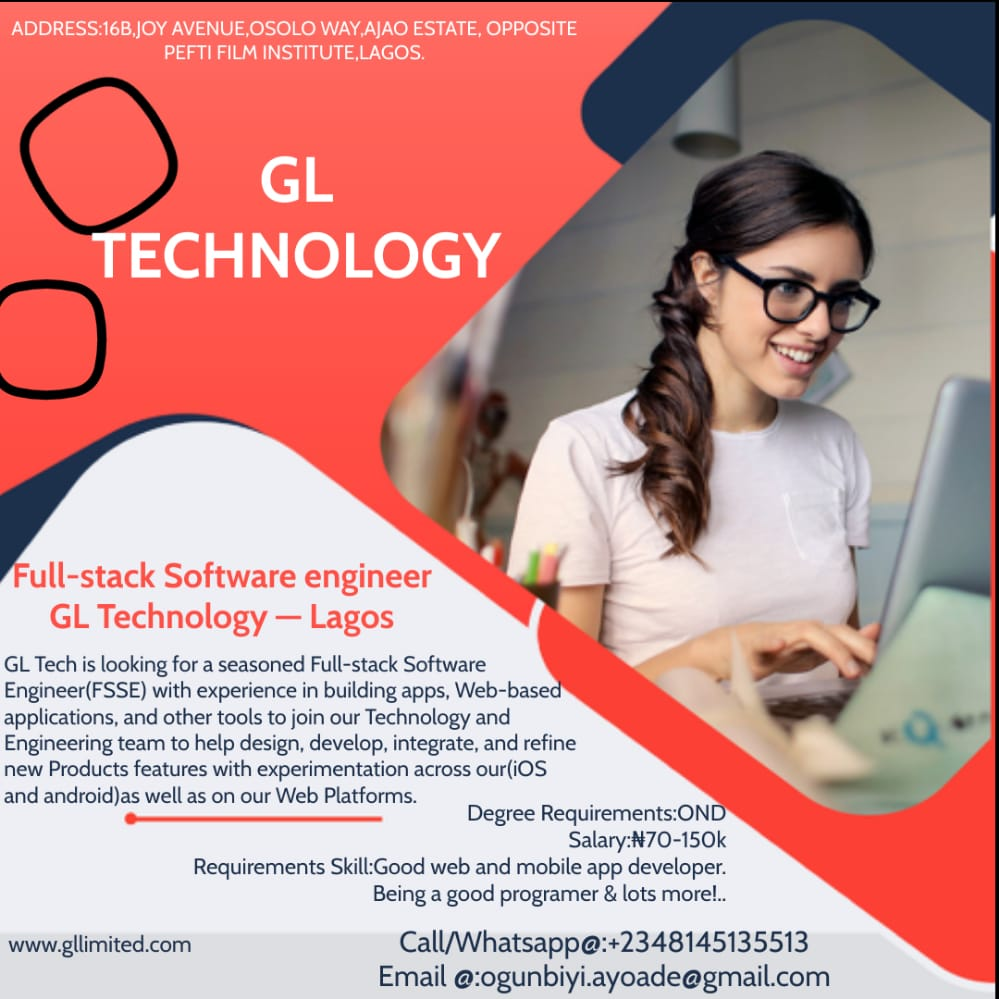 Full-stack Software engineer GL Technology — Lagos